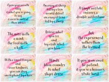 Collage of Inspirational messages over abstract water color backgrounds Stock Photography