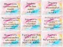 Collage of Inspirational messages over abstract water color backgrounds Stock Photo