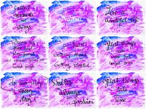 Collage of Inspirational messages over abstract water color backgrounds Stock Images