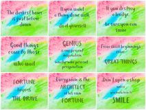 Collage of Inspirational messages over abstract water color backgrounds Royalty Free Stock Photos