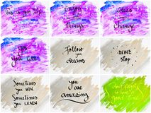 Collage of Inspirational messages over abstract water color backgrounds Stock Photos