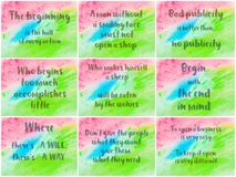 Collage of Inspirational messages over abstract water color backgrounds Royalty Free Stock Image