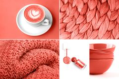 Collage in Living Coral color. Trendy color concept of the year. stock photography
