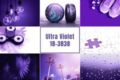 Ultra Violet collage. Color of the year 2018 royalty free stock photos