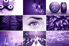 Ultra Violet collage. Color of the year 2018 royalty free stock photo