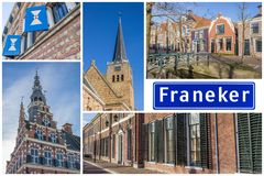 Collage of interesting sights in the Frisian city of Franeker royalty free stock photos