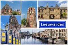 Collage of interesting sights in the Frisian city of Leeuwarden royalty free stock photo