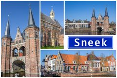 Collage of interesting sights in the Frisian city of Sneek stock images