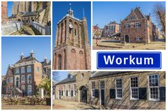 Collage of interesting sights in the Frisian city of Workum royalty free stock image