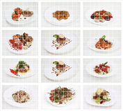 Collage of international food. Collage of delicious beef meals. Includes steak, sausages, chili, salad, lasagne Stock Photo