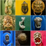 Collage of iron door knockers of Malta. Photo collage of iron door knockers of Malta Royalty Free Stock Images