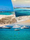 Collage of island Formentera, Spain. Europe Stock Photos