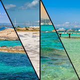 Collage of island Formentera, Spain. Europe Royalty Free Stock Images