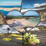 Collage of island Lanzarote, Spain. Europe Stock Photos