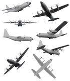 Collage of isolated aircraft Royalty Free Stock Photography