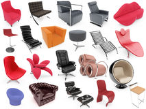 Collage of isolated armchairs. Isolated armchairs over white background Stock Images