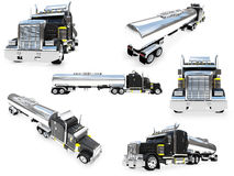 Collage of isolated big truck Royalty Free Stock Photo