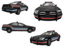 Collage of isolated black police car. Isolated collection of black police car over white background Stock Photos