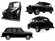 Collage of isolated black taxi Royalty Free Stock Photo