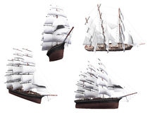 Collage of isolated boat Royalty Free Stock Image