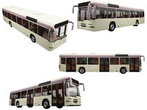 Collage of isolated bus Royalty Free Stock Photo