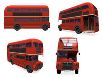 Collage of isolated bus Royalty Free Stock Images