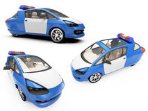 Collage of isolated concept police car Royalty Free Stock Photo