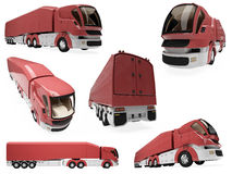 Collage of isolated concept truck. Isolated collection of concept truck over white background Stock Image