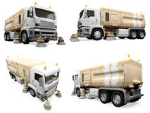 Collage of isolated construction vehicle Royalty Free Stock Images