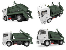 Collage of isolated dump truck. Isolated collection of dump truck over white background Royalty Free Stock Photos
