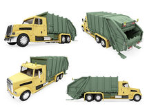 Collage of isolated dump truck. Isolated collection of dump truck over white background Royalty Free Stock Photo