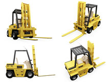 Collage of isolated fork truck. Isolated collection of fork truck over white background Stock Images
