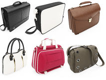 Collage of isolated handbags Royalty Free Stock Image