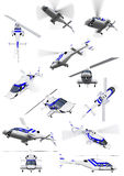Collage of isolated helicopter Royalty Free Stock Photos