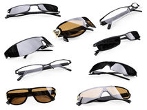 Collage of isolated sunglasses Royalty Free Stock Photography