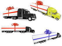 Collage of isolated surprise truck Royalty Free Stock Image
