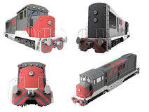 Collage of isolated train Royalty Free Stock Photo