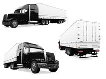 Collage of isolated truck. Isolated collection of truck over white background Royalty Free Stock Photos