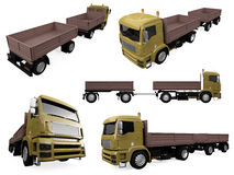Collage of isolated truck. Isolated collection of truck over white background Stock Photography