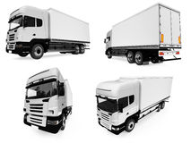 Collage of isolated truck. Isolated collection of truck over white background Royalty Free Stock Photo