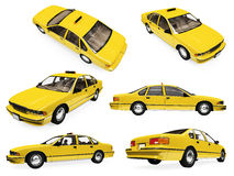 Collage of isolated yellow taxi. Isolated collection of yellow taxi over white background Royalty Free Stock Photos