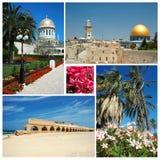 Collage of Israel landmarks. Old Jerusalem,Bahai temple at Haifa and Caesarea aqueduct Stock Photography