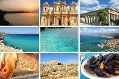 Collage Italia della Sicilia Fotografie Stock Libere da Diritti