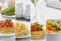 Collage of italian spaghetti with cheese and all of the ingredie. Collage portrait of homemade italian food spaghetti with cheese and all of the ingredients Stock Image