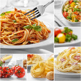Collage of italian spaghetti with cheese and all of the ingredie. Collage portrait of homemade italian food spaghetti with cheese and all of the ingredients Royalty Free Stock Photos