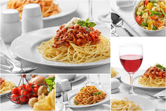 Collage of italian spaghetti with cheese and all of the ingredie. Collage portrait of homemade italian food spaghetti with cheese and all of the ingredients Royalty Free Stock Photo