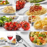 Collage of italian spaghetti with cheese and all of the ingredie Stock Photos