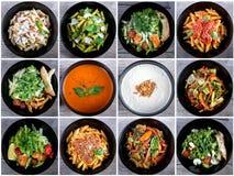 Collage italiano de la comida Imagen de archivo