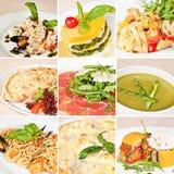 Collage italiano de la comida Fotos de archivo