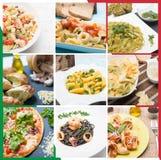 Collage italiano de la mezcla de las pastas Fotografía de archivo libre de regalías